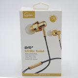 Los auriculares Earbuds de los auriculares de Univeral para el receptor de cabeza 6s del iPhone 6 para Gato en oído ataron con alambre con blanco del control de volumen del Mic 3.5m m con el rectángulo al por menor