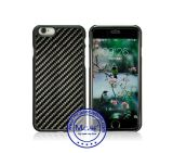Alta calidad China mayorista 100% cubierta de la caja real de fibra de carbono recubierta de goma PC para el iPhone 6 6s