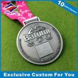 Médaille de sport en bronze antique en bronze argenté avec effet Sandy