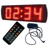 """5 """"4 cifre Semi-Outdoor orologio digitale del LED, regolare supporto delle funzioni orologio e il conto alla rovescia / la funzione, colore rosso"""