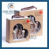 Rectángulos de papel de encargo de los zapatos de bebé con la ventana del PVC