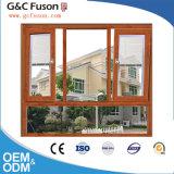Americano de madera de aluminio de la ventana del vidrio Tempered del estilo doble de Amercian