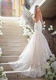 Robe de mariage de train de chapelle de Tulle d'Applique de sirène de courroie de spaghetti 0085