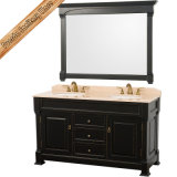 Vaidade ajustada escura clássica do banheiro do gabinete de banheiro da madeira contínua
