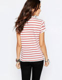 T-shirt rouge et blanc du coton 100% de dames d'OEM de piste