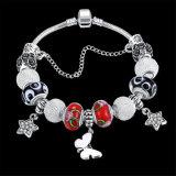 Pulsera moldeada plateada plata del encanto de la estrella de la mariposa de la joyería DIY de la manera