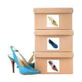4 zapatos de la impresión en color que empaquetan el rectángulo