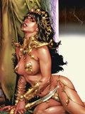 화포에 섹시한 여자 만화 유화 인쇄