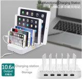 Стыковка зарядной станции USB многофункциональных портов 10.6A 5 Desktop с держателем стойки