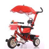 Triciclo plástico do bebê do assento do frame de aço com cesta dianteira