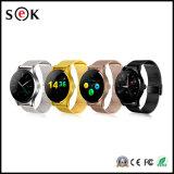 K88hのアンドロイドおよびIosの電話IP54 Ogsスクリーンのための革時計バンドのBluetoothのスマートな腕時計