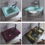 Bacia de lavagem de vidro da cor por atacado com espelho