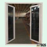 Porta dobro de alumínio revestida do Casement da faixa do pó branco de vidro dobro da cor, porta de alumínio, porta K06004