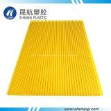 Hoja gemela amarilla helada del material para techos de la depresión del policarbonato de la pared
