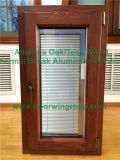 Ventana satinada de la inclinación y de la vuelta del vidrio Tempered del triple de aluminio revestido de madera de roble de América, ventana casera estética del marco