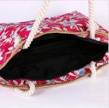 Saco impresso da praia da bolsa da corda do algodão do saco da mamã da lona da grande capacidade da forma do saco de ombro da lona
