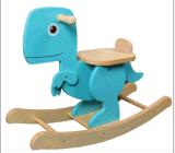 Dinossauro de balanço de madeira azul