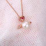Joyería 100% genuino plata de ley 925 de agua dulce natural de la perla alas del ángel del corazón colgante collar de regalo de las mujeres