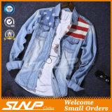 Camisa longa à moda da sarja de Nimes da forma do revestimento da luva do algodão do Mens