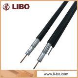 75 câble coaxial de liaison normal de l'écran protecteur Rg59 de tresse d'ohm pour le système de télévision en circuit fermé Ctav avec la jupe de PVC noire