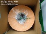 película fundida 500mm*1800m*25um do envoltório da ensilagem na cor alaranjada