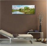 キャンバスオイルの絵画湖および丘