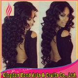 """""""sexy"""" quente todo peruca cheia ondulada do laço de Glueless do Virgin peruano do estilo"""