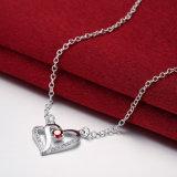 Projeto bonito chapeado da colar do pendente da forma do coração prata simples para mulheres