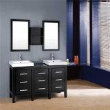 Vanité commerciale en bois debout de salle de bains de double bassin d'étage neuf