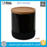 Подгонянная банка опарника/держателя свечки печатание керамическая с Bamboo/керамической крышкой