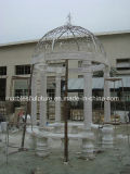 White Carrara Stone Sculpture Marble Gazebo (SY-006)