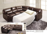 Dunkler Brown Sofabed und Recliner Leather Corner Sofa