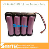 Li-ione ricaricabile 2600mAh Battery Pack di 4s2p 14.8V 18650 con Holder