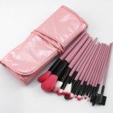 cepillo del maquillaje del recorrido 15PCS con el bolso rosado