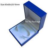 Ретро голубая коробка упаковки ювелирных изделий подарка с логосом сусального золота горячим штемпелюя