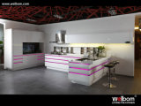 Da laca elevada do lustro de Welbom projeto 2017 branco do gabinete de cozinha
