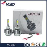Nueva LED de la linterna del coche V8 COB lámparas de los faros 880