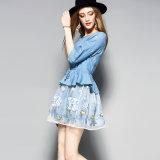 Wathetのドローストリングが付いている青い花の印刷された女性のパーティー向きのドレス
