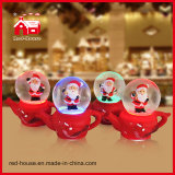 Pupazzo di neve di Ornament Snow Globe di natale su Train Base con Flying Snow e LED Lights Water Globe