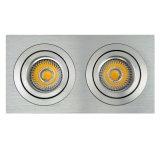 Drehbank-Aluminium GU10 MR16 Multi-Winkel 2 Geräte quadrieren vertiefte Neigung-unten Leuchte (LT2303B-2)