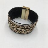 Al por mayor de la pulsera de cuero hecha a mano con piedra de cristal pulsera de metal de moda para damas