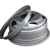 Grosser Stahlrad-Felgen-Gebrauch auf grossem Gummireifen des LKW-TBR