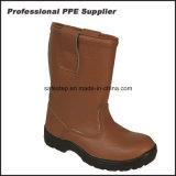 Высокий ботинок работы неподдельной кожи впрыски PU отрезока