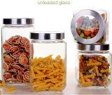 Квадратный стеклянный опарник еды бака для хранения конфеты опарника загерметизированного стекла опарника