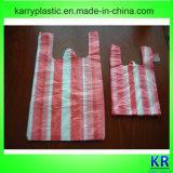 HDPE Shirt-Beutel mit buntem Streifen