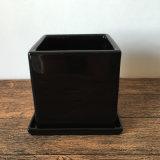 Plantador de cerámica del cuadrado de interior negro de la decoración