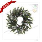 Da grinalda artificial quente do Sell de China da grinalda decorativa plástica do Natal de Wreathmetal com neve