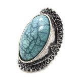 Anelli di pietra naturali Crack placcati argento antico di Boho grandi