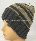 袖口(Hjb044)が付いている熱い販売の冬の編む帽子の縞の帽子の帽子