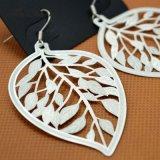 女性の銀によってめっきされる簡単な方法宝石類のための空の葉の低下イヤリング